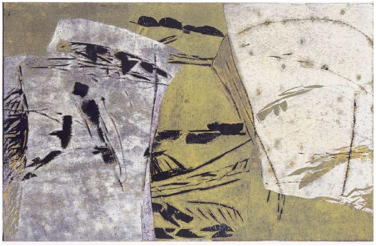 Holzschnittunikat / Collage 2000, 55 x 85 cm